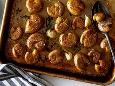 Get Crispiest Ever Smashed Potatoes Recipe from Food Network Potato Dishes, Potato Recipes, Food Dishes, Cornbread Recipes, Casserole Recipes, Chicken Recipes, Potato Pasta, Ramen Recipes, Cabbage Recipes
