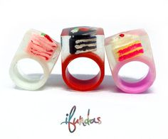 Resin Cake Ring, Hand Made, Chunky Statement Ring, Cake Ring, Resin Ring, Pink ring, cake, chunky ring, clear ring, red ring, white ring by ifundas on Etsy