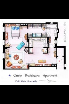 SATC. this is a brilliant apartment layout! The perfect bachelorette pad.