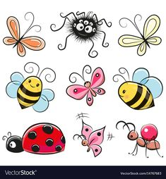 Illustration about Cute Cartoon insects isolated on a white background. Illustration of patches, swirl, pins - 89065890 Bug Cartoon, Cartoon Drawings, Animal Drawings, Doodle Art, Zen Doodle, Colorful Drawings, Easy Drawings, Butterfly Drawing, Drawing Flowers