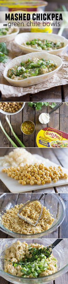 Mashed Chickpea and Green Chile Bowls - It's time to change up your lunch routine with this delicious meat-free recipe filled with a mashed chickpea and green chile filling. Perfect for lunch at home or at the office!