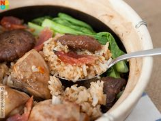 Easy recipe for claypot chicken rice with lup cheong, mushrooms, baby bok choy & salted fish.