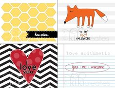 Project Life - free printable valentine cards for project life THAT FOX IS ADORABLE!!! by rachel..54