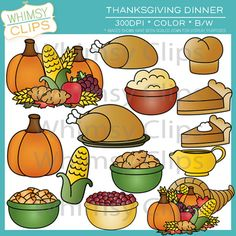 The Thanksgiving dinner clip art set contains 28 image files, which includes 14 color images and 14 black and white images in both png and jpg. All images are 300dpi for better scaling and printing.