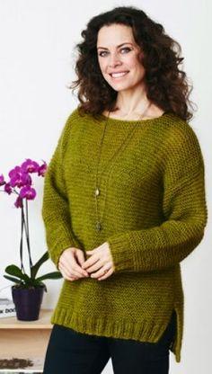 Stor sweater i retstrik   Familie Journal