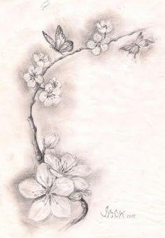 cherry blossom tattoo sketch | ... - DRACONES TATTOO- salon tatuaje bucuresti: SKETCH CHERRY BLOSSOMS Like, Comment, Repin !!?