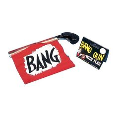 "BANG GUN WITH FLAG..... When you pull the trigger on this classic Bang Gun the cartoon flag pops out with the word ""BANG"" written in big letters! Great for those moments when you need comedy relief. Easy to reuse, just roll up and start over. You're sure to get a big bang out of this gag! www.theonestopfunshop.com"