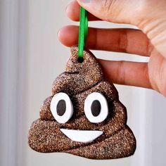 Glittery Poop Emoji Ornaments