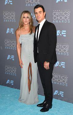 We're seeing more blue...this time on Jen Aniston and her dashing husband @justintheroux, on the Red Carpet at the #criticschoice Awards.