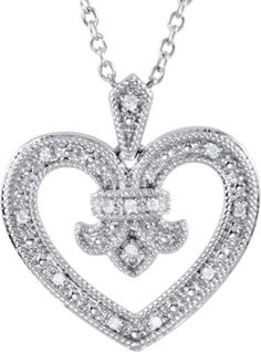 .06 ct tw Diamond Heart Design 18 Necklace | www.grandgems.com