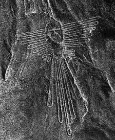 Nazca, Peru. Hummingbird.  Large scale earthworks thought to be ritually danced, activating the landscape and imagery with music, light, and human engagement.