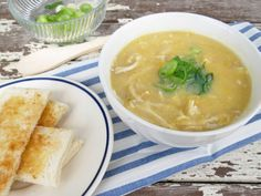 Photo of Chinese Chicken Sweet Corn Soup notes: Doesn't have to have Sesame oil Replace egg with extra cup water and add 1 well crushed pkt of 2 min noodles at end of cooking. Chicken And Sweetcorn Soup, Chicken Corn Soup, Sweet Corn Soup, Bbq Chicken, Corn Soup Recipes, Chicken Soup Recipes, Dinner Recipes, Dinner Ideas, Parmesan