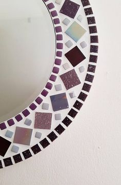 Mosaic Mirror in Purple & Grey Bathroom Mirror, Round Wall Mirror, Purple Mirror, Mosaic Wall Art, Purple Wall Art Mirror Mosaic, Mosaic Wall, Mosaic Tiles, Button Art, Shades Of Purple, Make And Sell, Frame, Crafts, Handmade