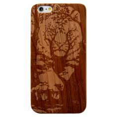Tiger Face Tree Forest- Laser Engraved Wood Phone Case (Maple,Cherry,Black,Cork)