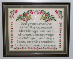 "Finished Framed Cross Stitch Crewel Serenity Prayer 18"" x 21"" Green Birds Flower"