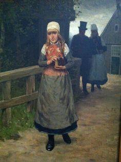 schilderij met vrouw in klederdracht