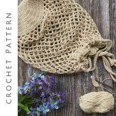 CROCHET PATTERN, Market Bag, Cinch Top Tote, Produce Bag, Crochet Mesh Bag, PDF Download, Shopper Bag, Cotton Market Tote, Easy Crochet