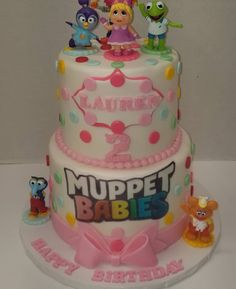 Muppet Babies Theme Birthday Cake for a 2 year old little Princess. Cake Pops Chocolate covered Muppet Babies Theme Birthday Cake for a 2 year old little Princess. Cake Pops Chocolate covered Oreos Sugar Cookies with edible images. Twin Birthday Parties, Baby Birthday Cakes, 2nd Birthday, Birthday Ideas, Muppet Babies, Piglet Cake, Princess Cake Pops, Twins 1st Birthdays, Chocolate Covered Oreos
