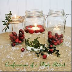 Mason Jar Christmas Ideas | As you can see, there are three different candles so I will show you ...