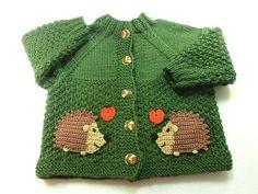 Jacken - Babyjacke gestrickt Größe 86 Igel mit Herz - ein Designerstück von Juttas-ZauberStrick bei DaWanda
