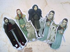 Game of Thrones bookmarks House Stark: Jon Snow by SillyLunastorta