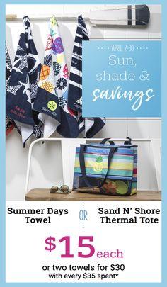 Thirty-One Gifts – Sun, Shade & Savings! #ThirtyOneGifts #ThirtyOne #Monogramming #Organization #April2018Special #SummerDaysTowels #SandNShoreThermalTote