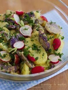 salata de cartofi cu ridichi si dressing de mustar Healthy Salad Recipes, Vegetarian Recipes, Cooking Recipes, Mayonnaise, Romanian Food, Slow Food, Side Dish Recipes, Potato Recipes, Quick Easy Meals