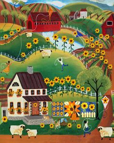 SUNFLOWER QUILTS AND SHEEP OLD TYME VILLAGE 8x10 - cherylbartleydesigns