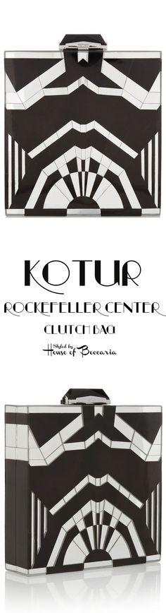 ~KOTUR Fall-Winter 2013 Black Rockefeller Center Art Deco Inspired Mirrored Shell Clutch | House of Beccaria