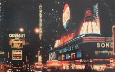 1956 TIMES SQUARE AT NIGHT PHOTO