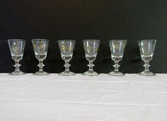 Set of Six Wafer Stem Goblets - Queen Street Antiques Mall