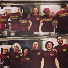 Smiles Passion and Team Spirit in the #kitchen realm of Chef Francesco Parravicini at @risto_palmaria ! The t-shirt says If you hit one you hit all of us. #cheflife #palmariarestaurant
