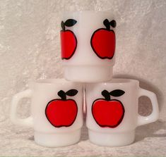 Three vintage Anchor Hocking FIRE KING stackable RED APPLE coffee mugs / cups. These mugs are in excellent condition, they look like they have been used little, if at all. | eBay!