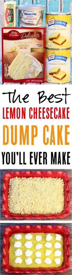 Such a delicious, citrusy dessert you… Easy Lemon Cheesecake Dump Cake Recipe! Such a delicious, citrusy dessert you'll love. The best part is that it's only 4 ingredients! Köstliche Desserts, Lemon Desserts, Lemon Recipes, Sweet Recipes, Delicious Desserts, Yummy Food, Homemade Desserts, Easy Lemon Cheesecake, Easy Cheesecake Recipes