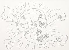 Damien Hirst - Skull and Crossbones  Unique drawing signed across the forehead of the skull by Damien Hirst. With Hirst's reference number to verso and entered into the Damien Hirst archive.