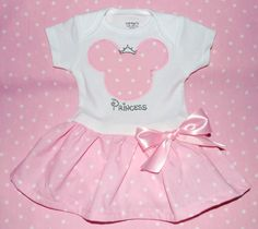Baby Pink Minnie Mouse Onesie Dress with Ruffle by TheZboutique, $39.00