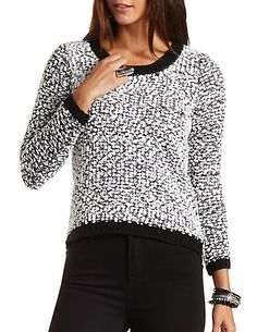 Popcorn Knit High-Low Sweater #charlottelook