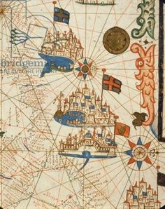 Marseille, Genoa and Venice, from a nautical atlas, 1646 (ink on vellum) (detail from 330937)