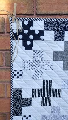 Custom Order Quilt- Modern Baby Quilts for Sale-Baby Blanket for Sale-Throw Quilt Black White Plus Cross Stripes Dots Jellyroll Quilts, Scrappy Quilts, Owl Quilts, Quilting Projects, Quilting Designs, Quilting Ideas, Quilt Festival, Nine Patch, Twinkle Twinkle Little Star