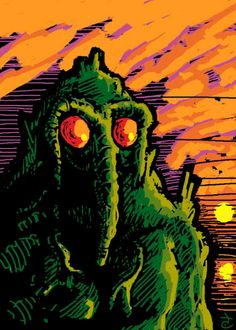 Man-Thing reanimated from the Saturday Sketches at Zombie Bites.  #Marvel #gif #Animated #sunset