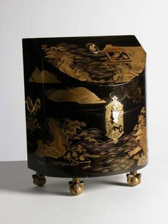One of a pair of Japanese lacquer knife boxes, second quarter of the 18th century. Powis Castle.