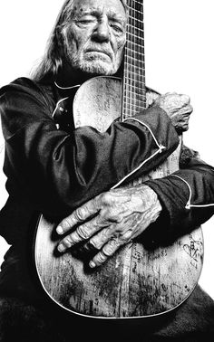 ♫♪ Music ♪♫ Black & white photo Willie Nelson