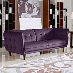 retro living room with dark purple sofa, benjamin moore shadow