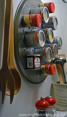 DIY Magnetic Spice Rack. Cut and glue magnet to back of each spice jar or can. Use an old pizza pan, cookie sheet or whatever.