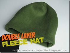 easy double layer fleece hat tutorial #fleecehat #sewahat