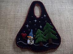 Little Snowman in the Woods Christmas Winter Door by rustiquecat