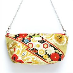 Obi Clutch [1380] Obi Clutch Bag / Shoulder Bag / Hexagon & Flower Pattern - ARI+JAPAN (ARITUS JAPAN) produces remake bags with Japanese traditional Obi and Kimono.