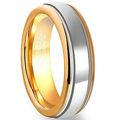 6mm Men's Polished Tungsten Carbide Wedding Ring Gold Plated Edge Inner Circle Band