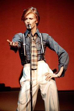 David Bowie Got a tan plaid jacket. Need a shirt, light pants, and suspenders