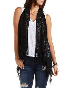 Crocheted Vest with Fringe: Charlotte Russe